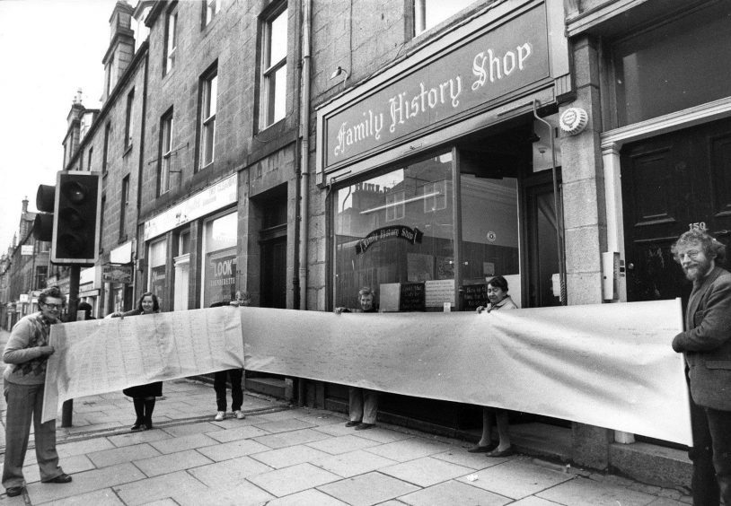 1987: Aberdeen Family History Society received a 30-foot long family tree from prospective member Robert Gunn, of Merseyside, who had lived in Cruden Bay and Peterhead.