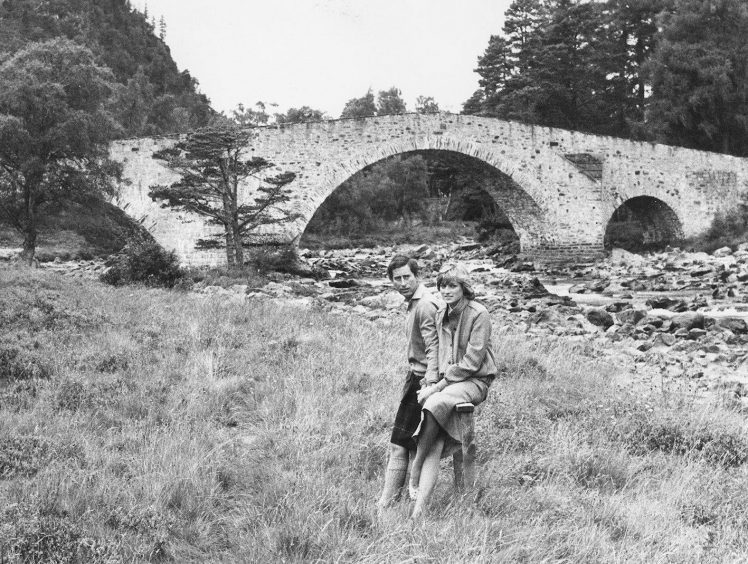 1981: The Prince and Princess of Wales on the bank of the River Dee near the old Brig o' Dee at Invercauld to record the first official public interview since their marriage three weeks before.