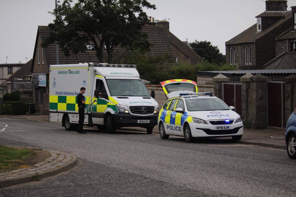Emergency services at the scene in Torry yesterday.