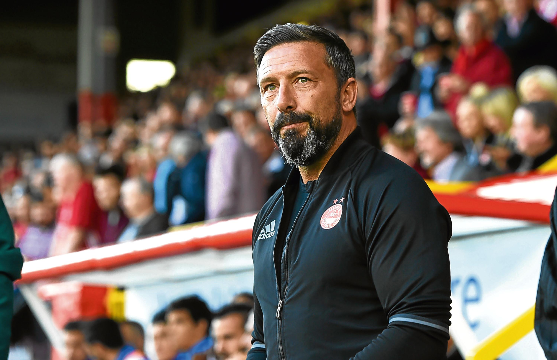 27/07/17 EUROPA LEAGUE QUALIFYING  ABERDEEN v APOLLON LIMASSOL (2-1)  PITTODRIE - ABERDEEN  Aberdeen manager Derek McInnes ahead of kick-off.
