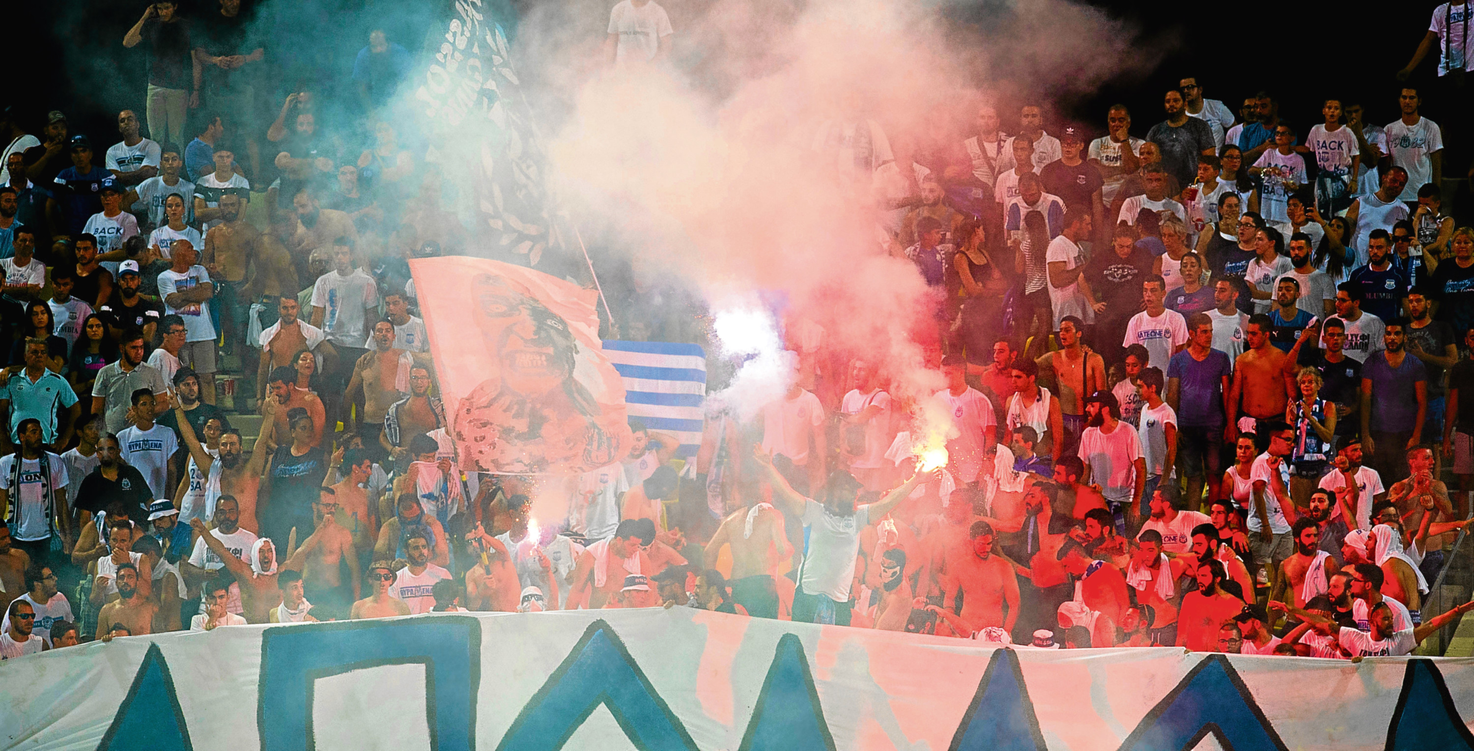 The Apollon Limassol fans in the stands.
