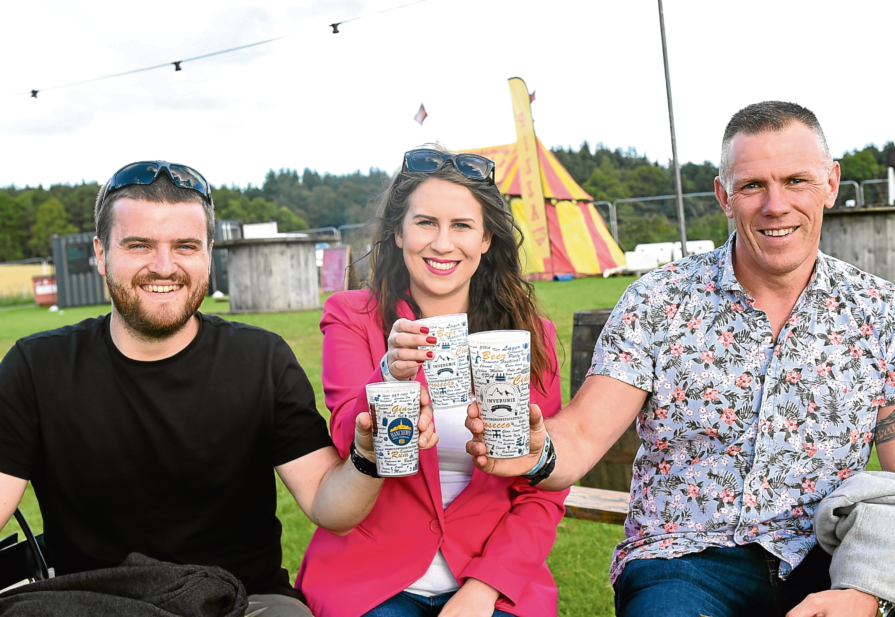 Banchory Beer Festival  Pictured are from left, Paul Kelman, Sonia Brownlee and Peter Hepburn Picture by DARRELL BENNS