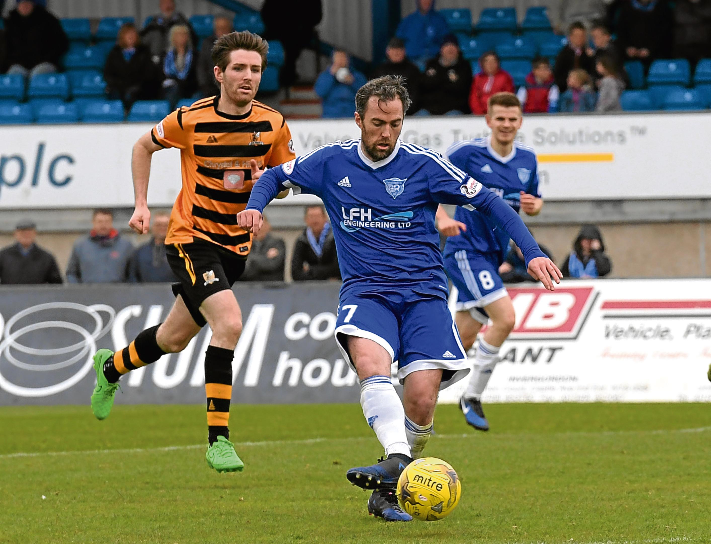 Peterhead's Jamie Stevenson in action.