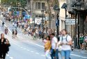 People walk down a main street in Barcelona, Spain, Thursday, Aug. 17, 2017. Police in Barcelona say a white van has mounted a sidewalk, struck several people in the city's Las Ramblas district. (AP Photo/Manu Fernandez)