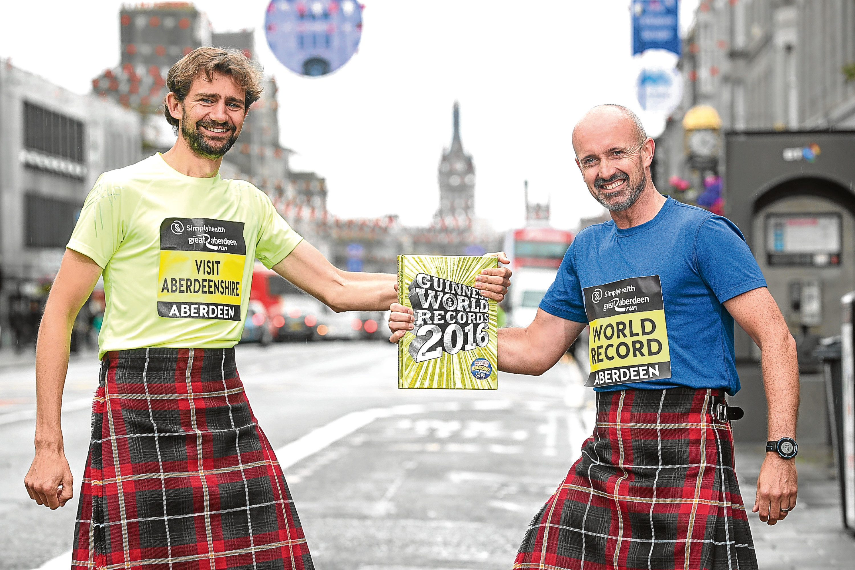 VISIT ABERDEENSHIRE PHOTOCALL RE RUNNERS GOING FOR GUINNESS BOOK OF RECORD ATTEMPT AT FASTEST HALF MARATHON WEARING A KILT picture submitted 21/08/2017