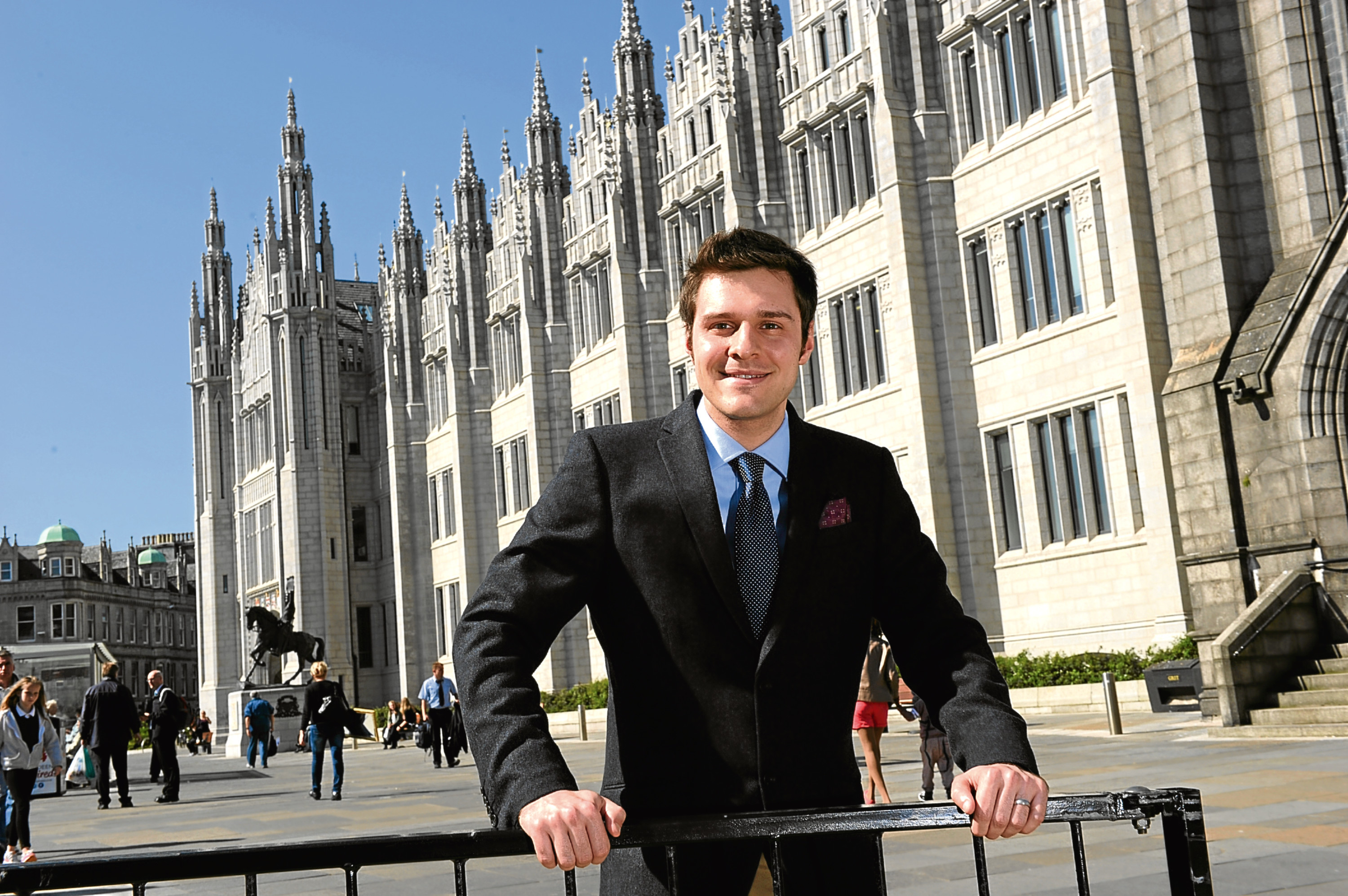 Ross Thomson outside Marischal College.