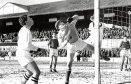 John punches a ball away against St Mirren in 1963.