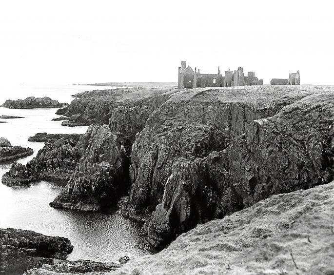 1955: A view of the ruin of Slains Castle, near Cruden Bay.