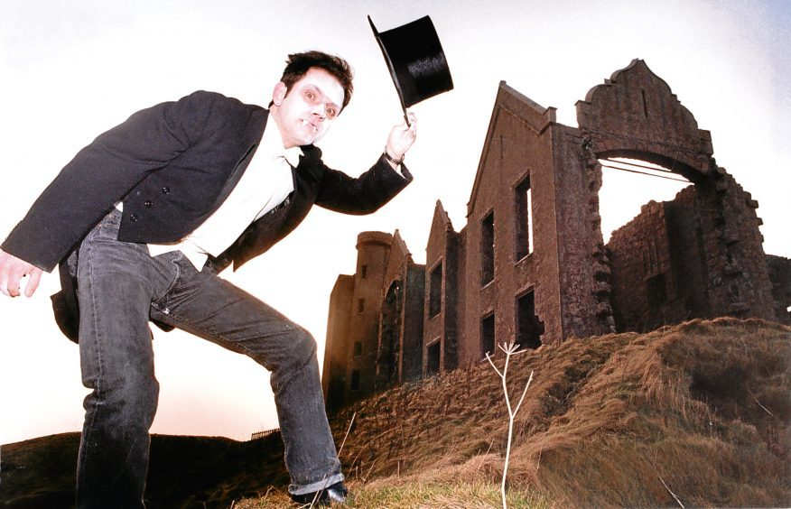 1993: Charlie Moncrieff, producer of a Dracula Spectacular at Haddo Hall, photographed at Slains Castle.