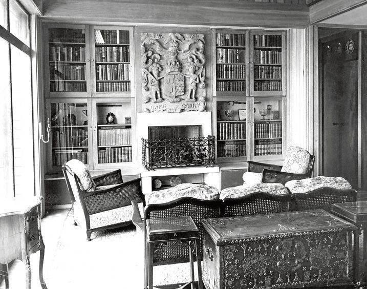 1962: The interior of the Countess of Erroll's home near Old Slains Castle.