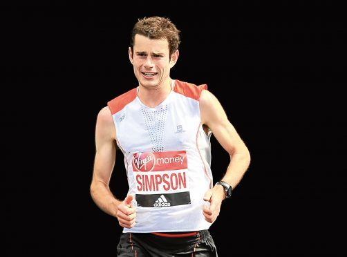Robbie Simpson of Great Britain competes during the Virgin Money London Marathon on April 23, 2017 in London, England.