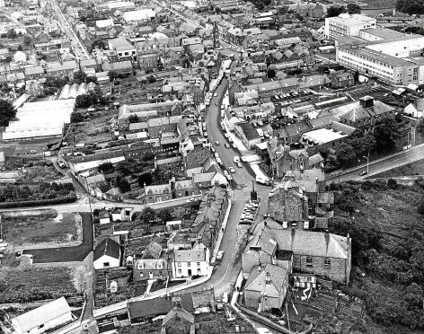 1973: An aerial shot of Turriff's main street taken in the early 1970s.
