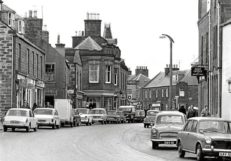 1972: The cars look very different from today in the High Street in Turriff.
