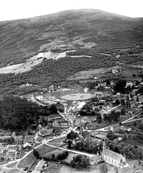 1949: An aerial shot showing the crowds heading for the Braemar Gathering.