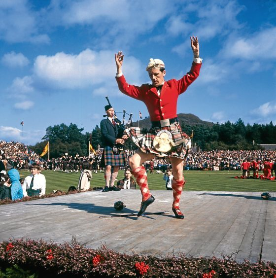 1970: A competitor in the Highland dancing competition at the Braemar Gathering.