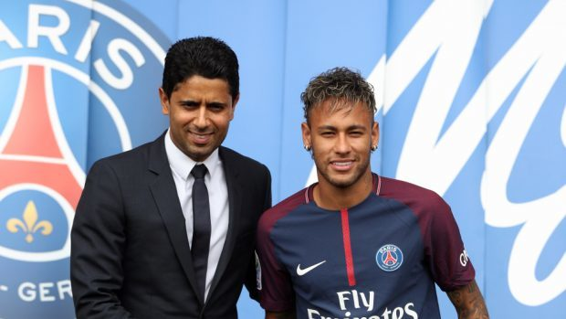 Neymar, pictured right, is now the most expensive footballer in history