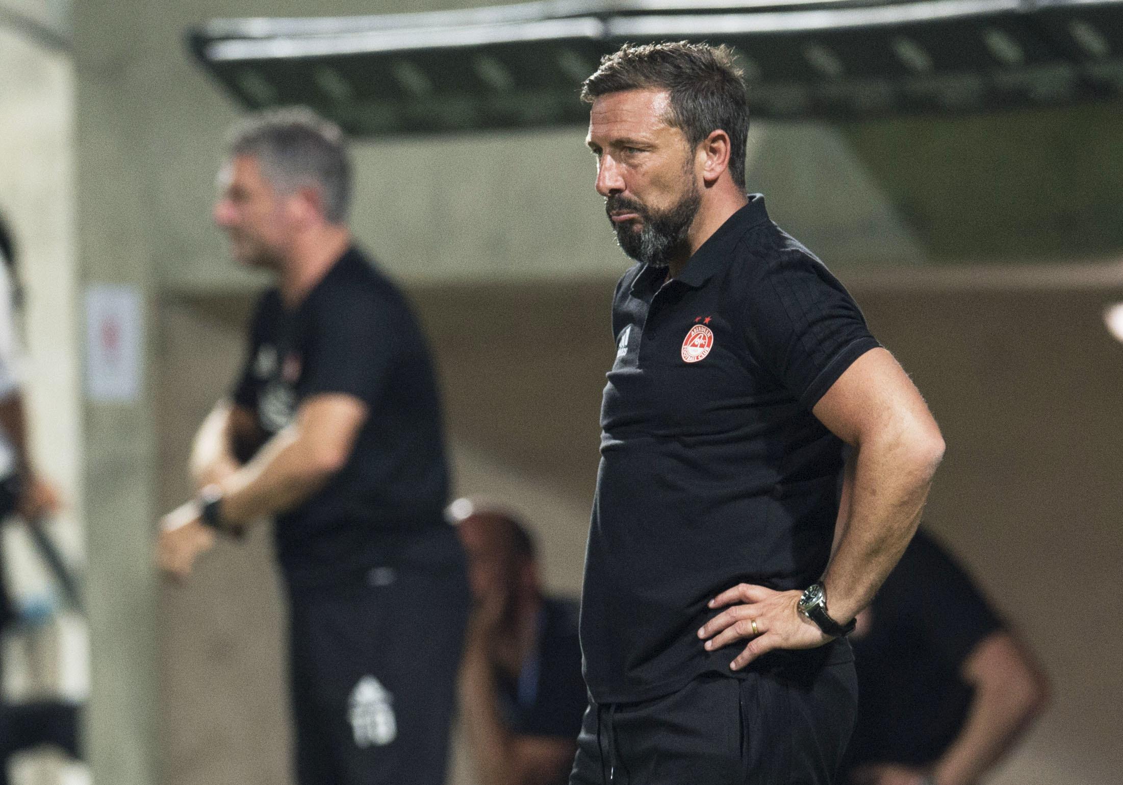 Aberdeen manager Derek McInnes at full-time in Cyprus.