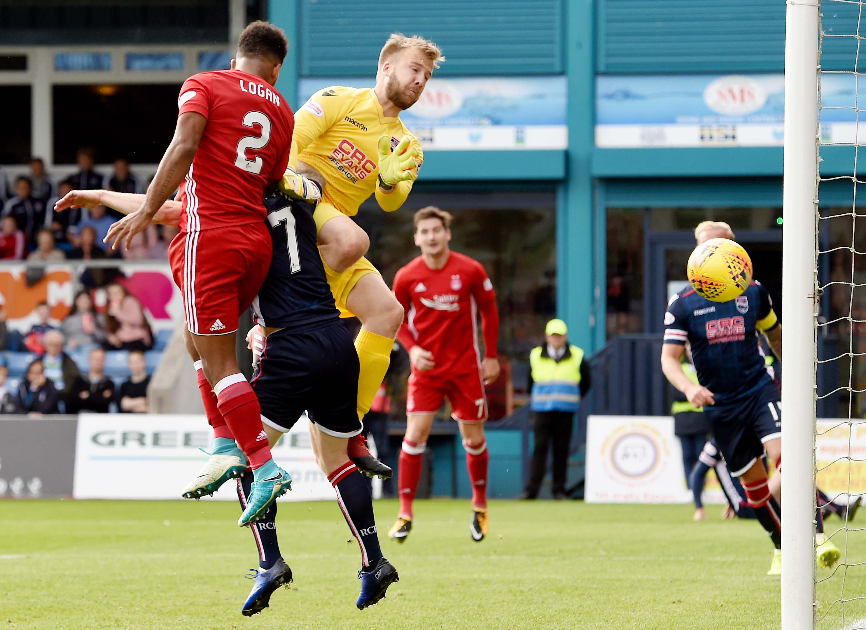 Aberdeen's Shay Logan puts his side in the lead.