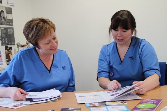 ndoscopy pre-assessment nurse June Tytler, left, is pictured with bowel screening nurse Alison Durno.