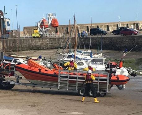 A 10-year-old boy was taken to hospital after the incident at Stonehaven Harbour