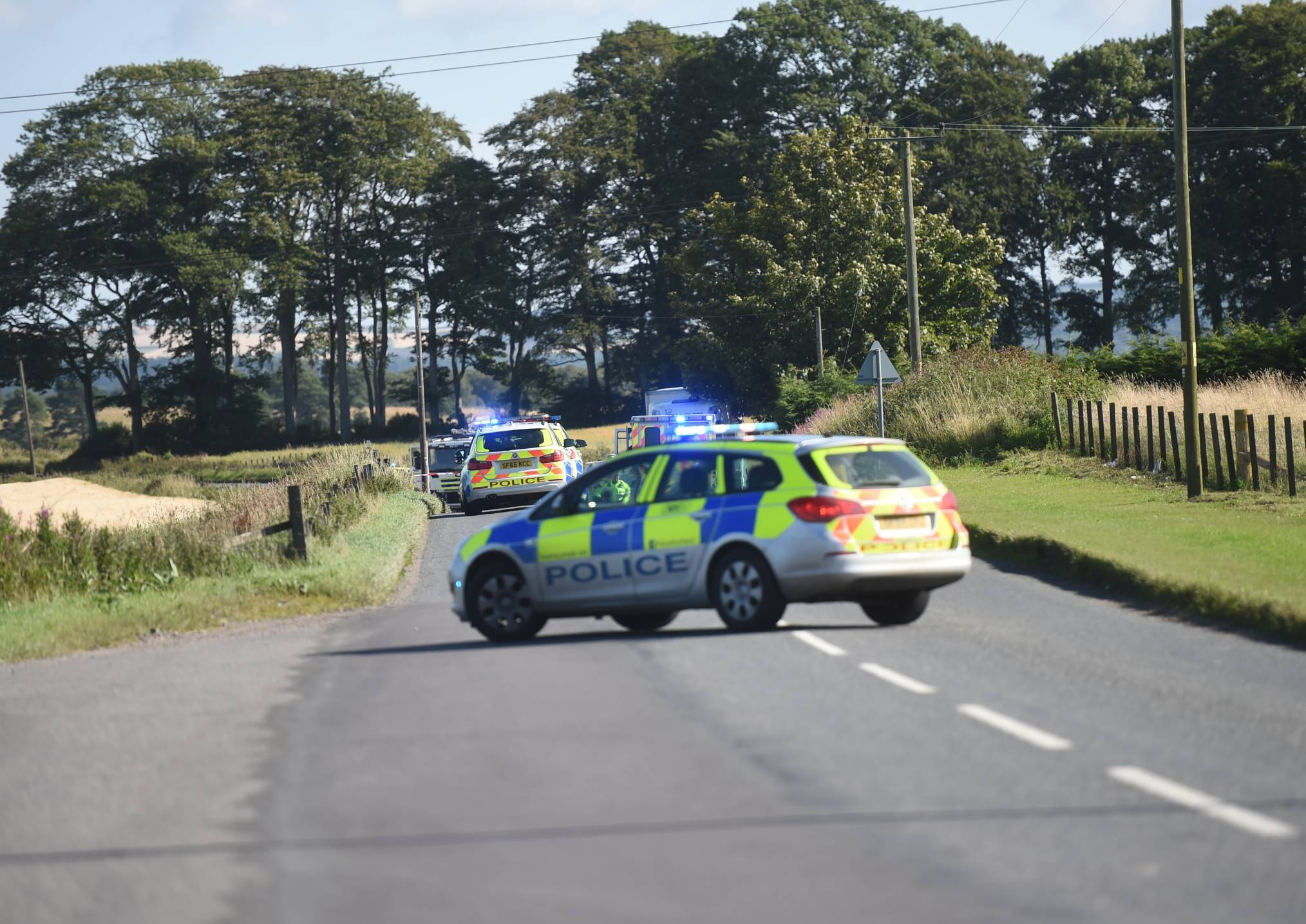 The B977 near the Lyne of Skene has been closed today
