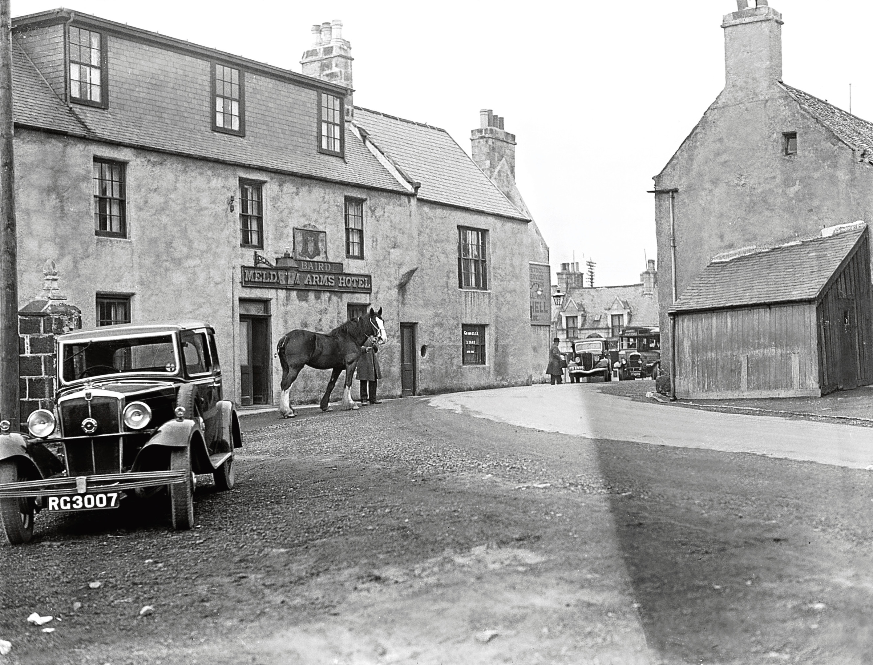A view of the Meldrum Arms Hotel taken in December 1936.