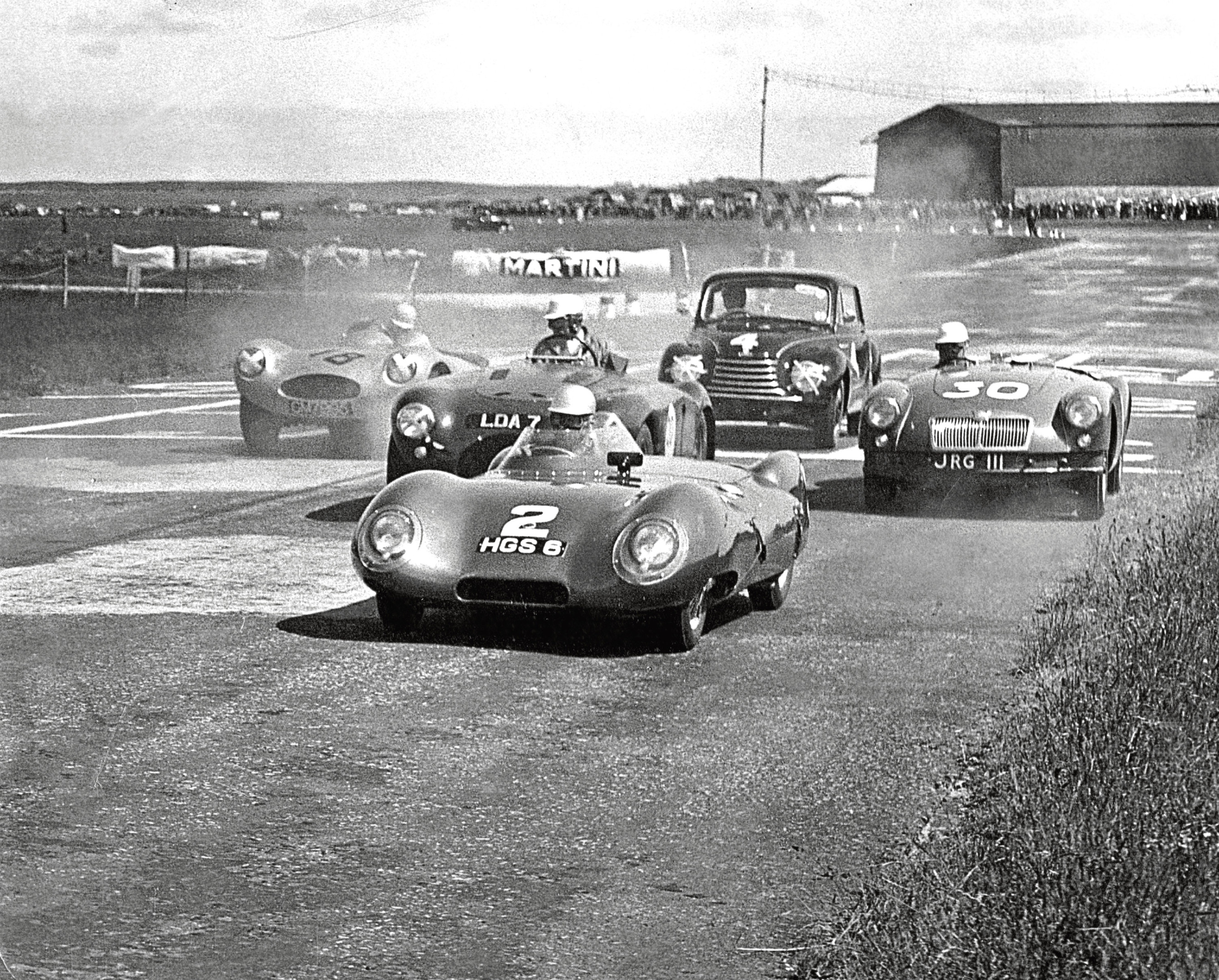 1956: Drivers jockey for positions at the start of the sports car race up to 1500cc at Crimond.