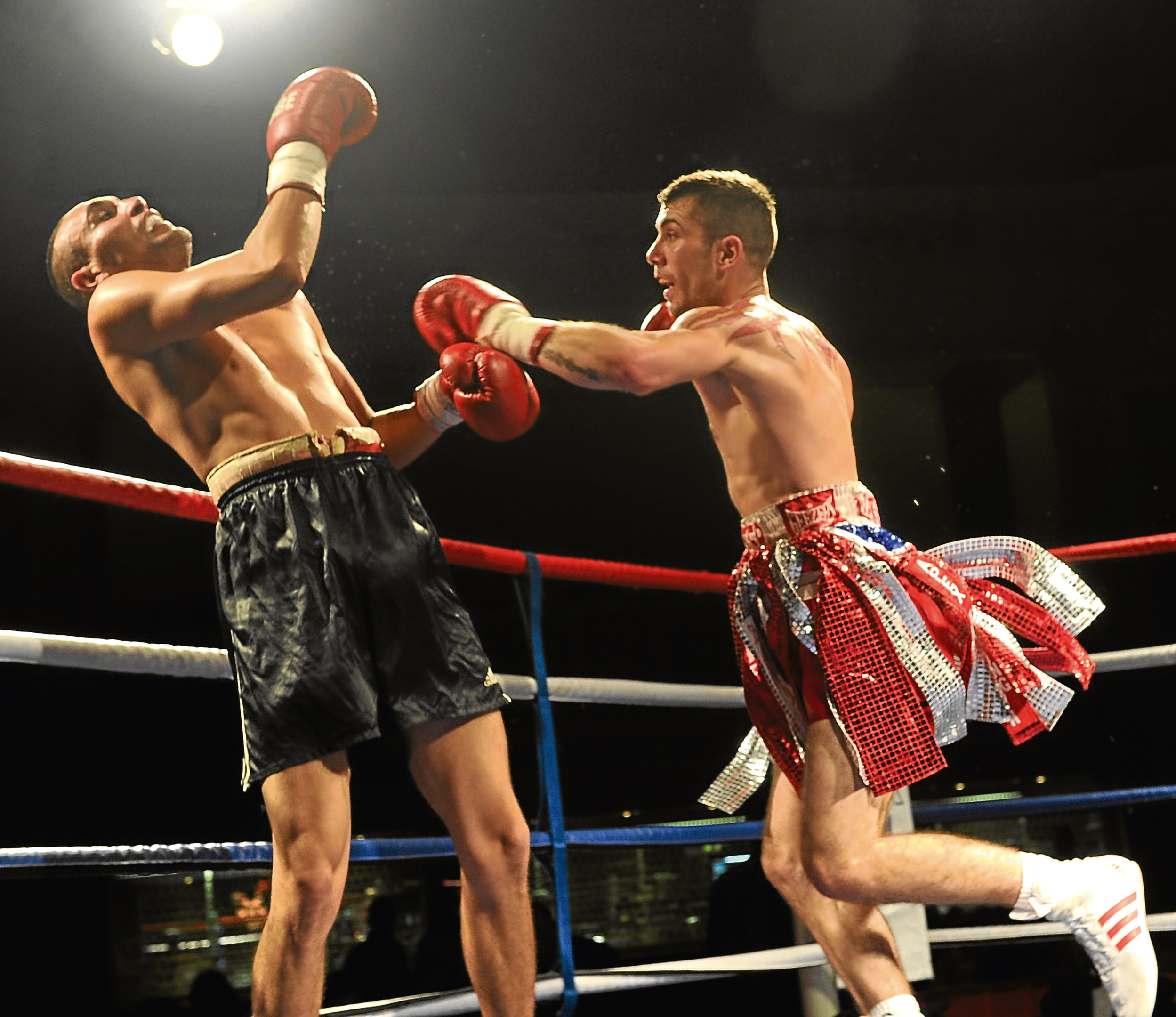 Lee McAllister on his way to beat  Karoly Lakatos, Hungary at the Beach Ballroom, Aberdeen.