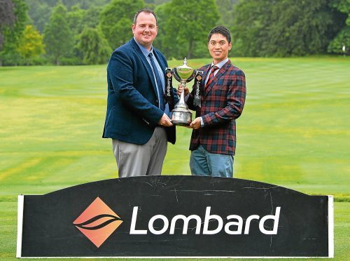 Professional Greg McBain, left, and Andrew Chan of Newmachar Golf Club  -winners of the Lombard Trophy Scottish Qualifier.