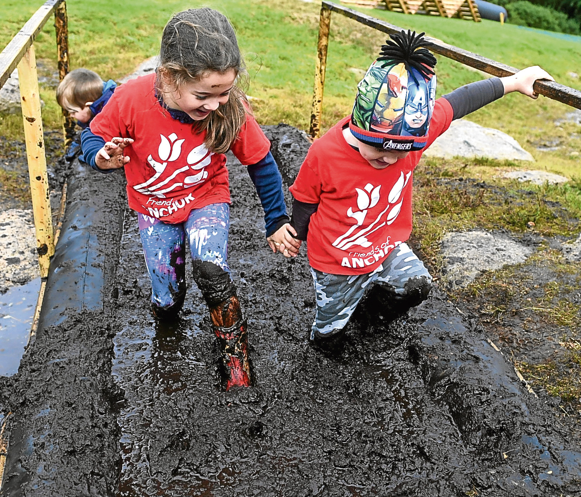 The popular North East mud run Glack Attack in Dunecht is launching a special course for children aged between 3 and 10 on the day. Friends of ANCHOR is the official charity for the event. Pictured trying the course is Chloe Davidson, 5 and brother Connor aged 3. Picture by Chris Sumner Taken 13/9/17