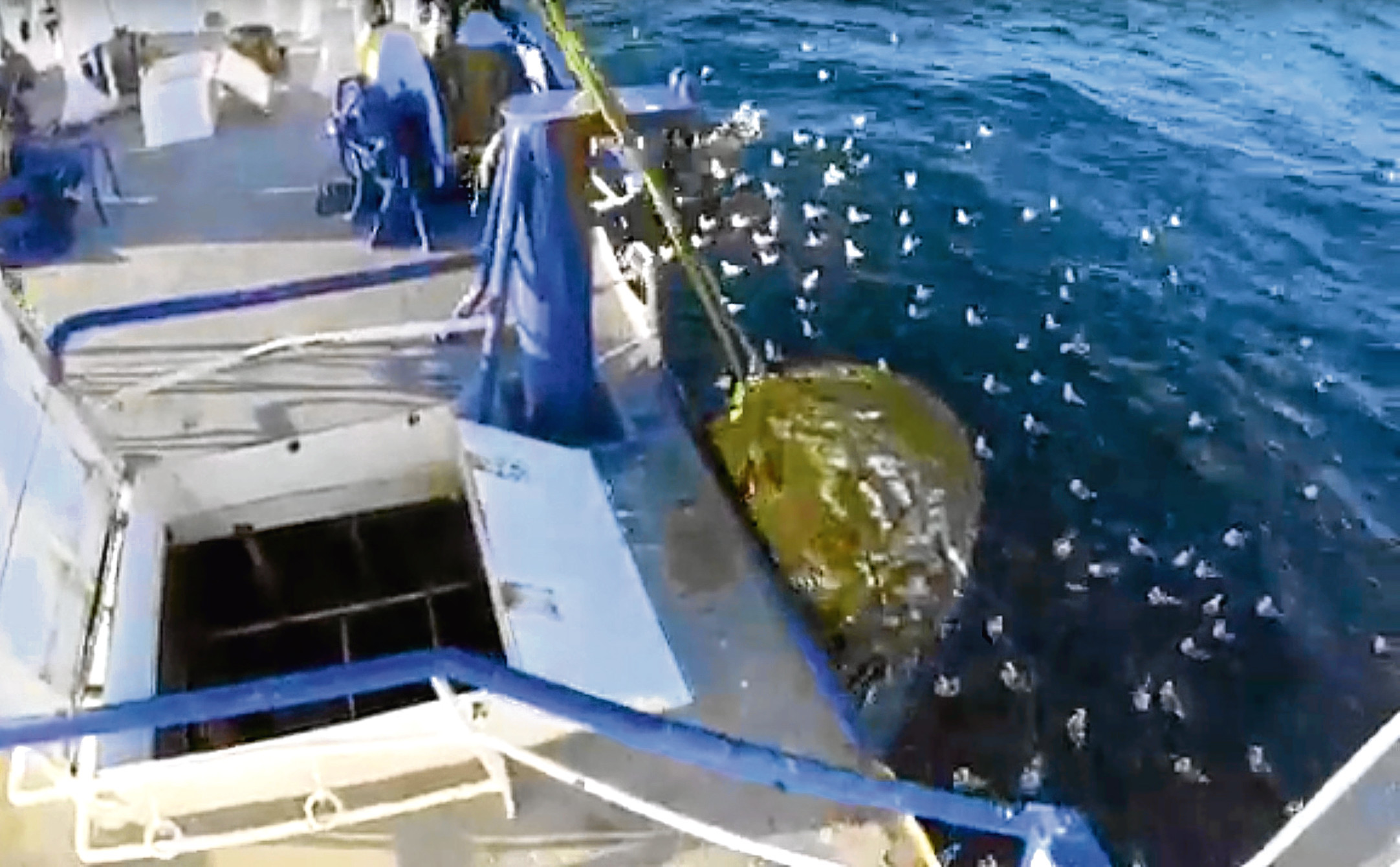 screen grabs from fisherman John Buchan showing his working day onboard his trawler. 