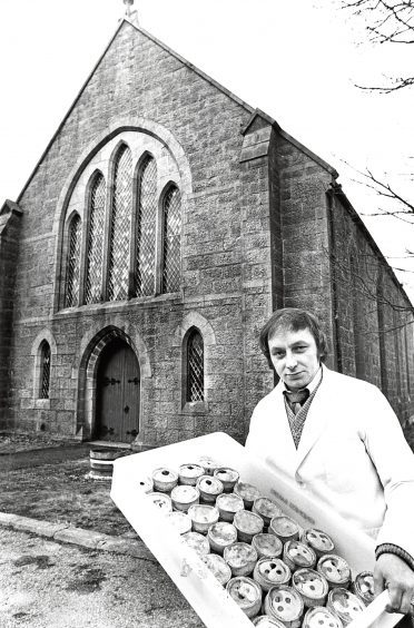 1981: Mr Michael Kindness, New Deer, outside the former Congregational church he has bought which he hopes to convert to a bakery.""