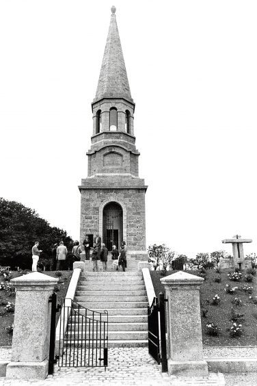 1991: Officials and guests listen to the speeches during the ceremony at the William Dingwall-Fordyce monument at Culsh cemetery.