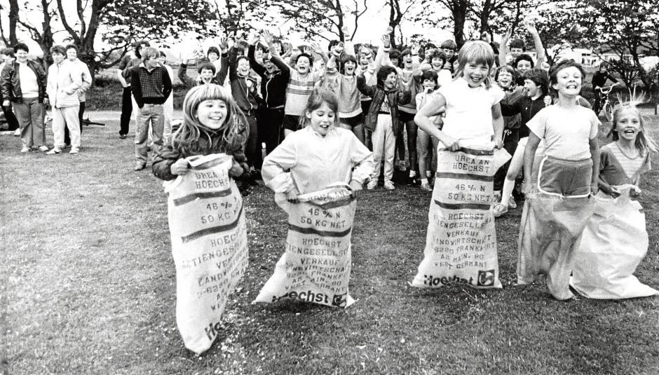 1985: Off to a flying start are the competitors in the junior girls' sack race at the New Deer Gala.