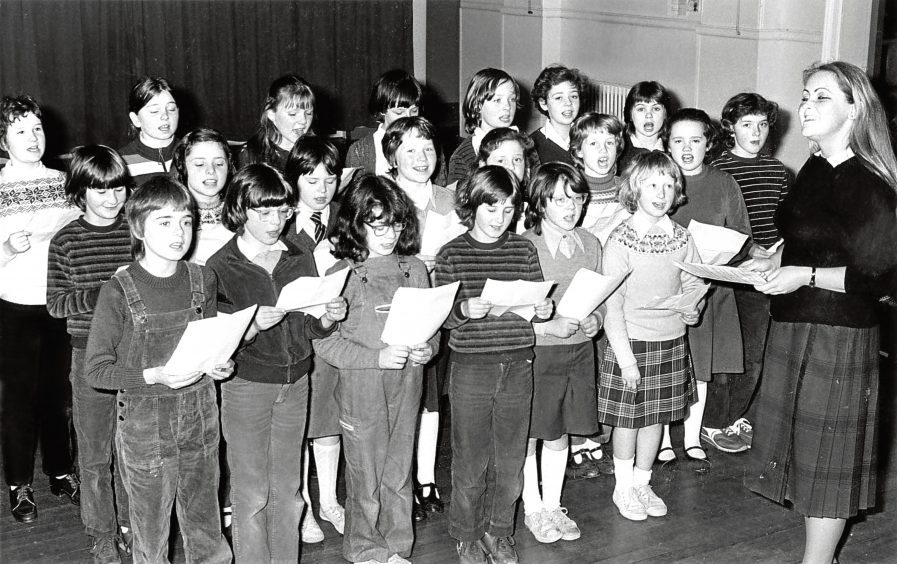 1982: New Deer School Choir was a lot younger this year as it was the first year the school was a primary only.