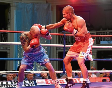 Championship Boxing at the Beach Ballroom. Pictures from left are James Gorman and Marek Laskowski. 13/11/16 Picture by HEATHER FOWLIE