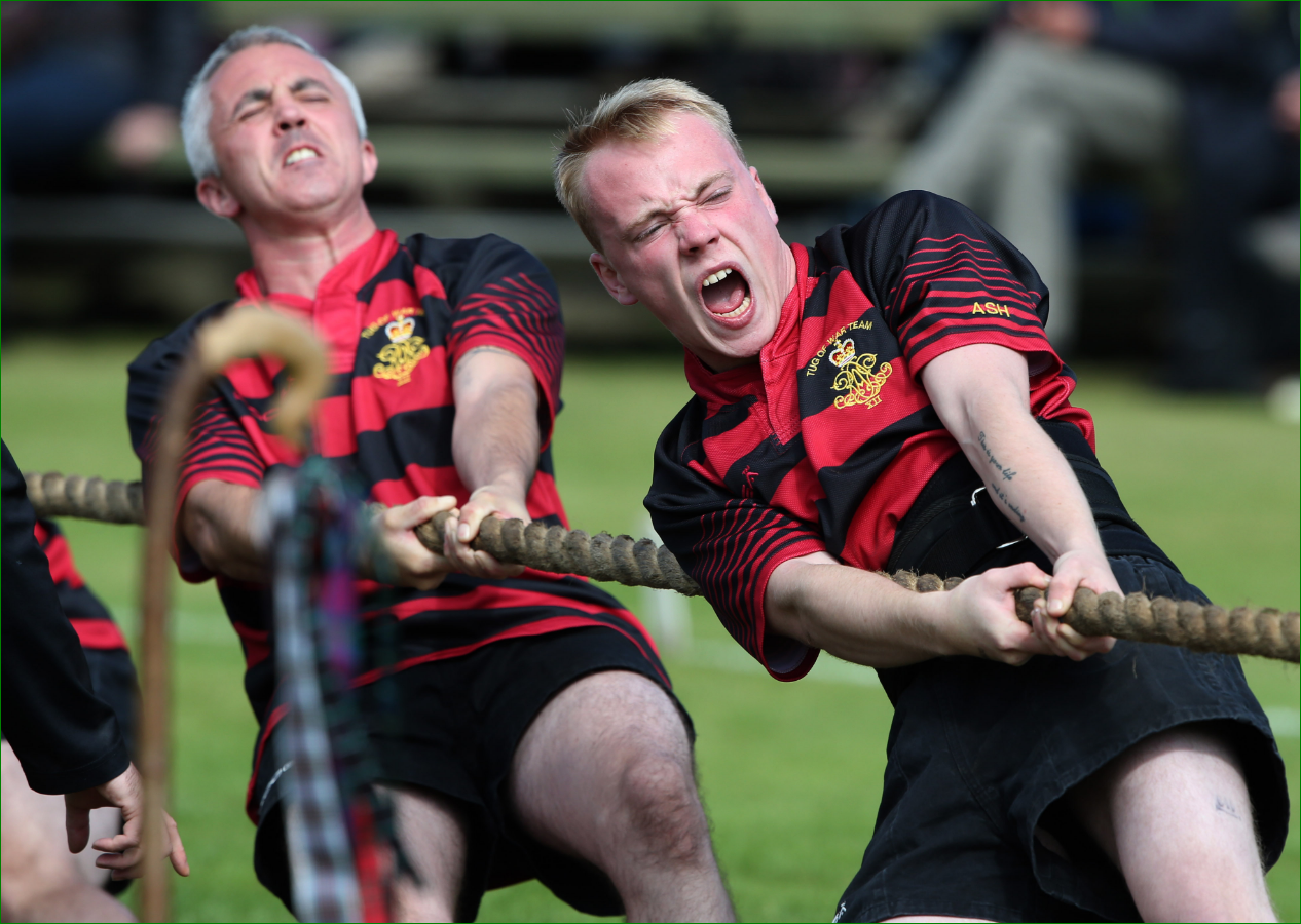 Tug of war competitors during the Braemar Royal Highland Gathering