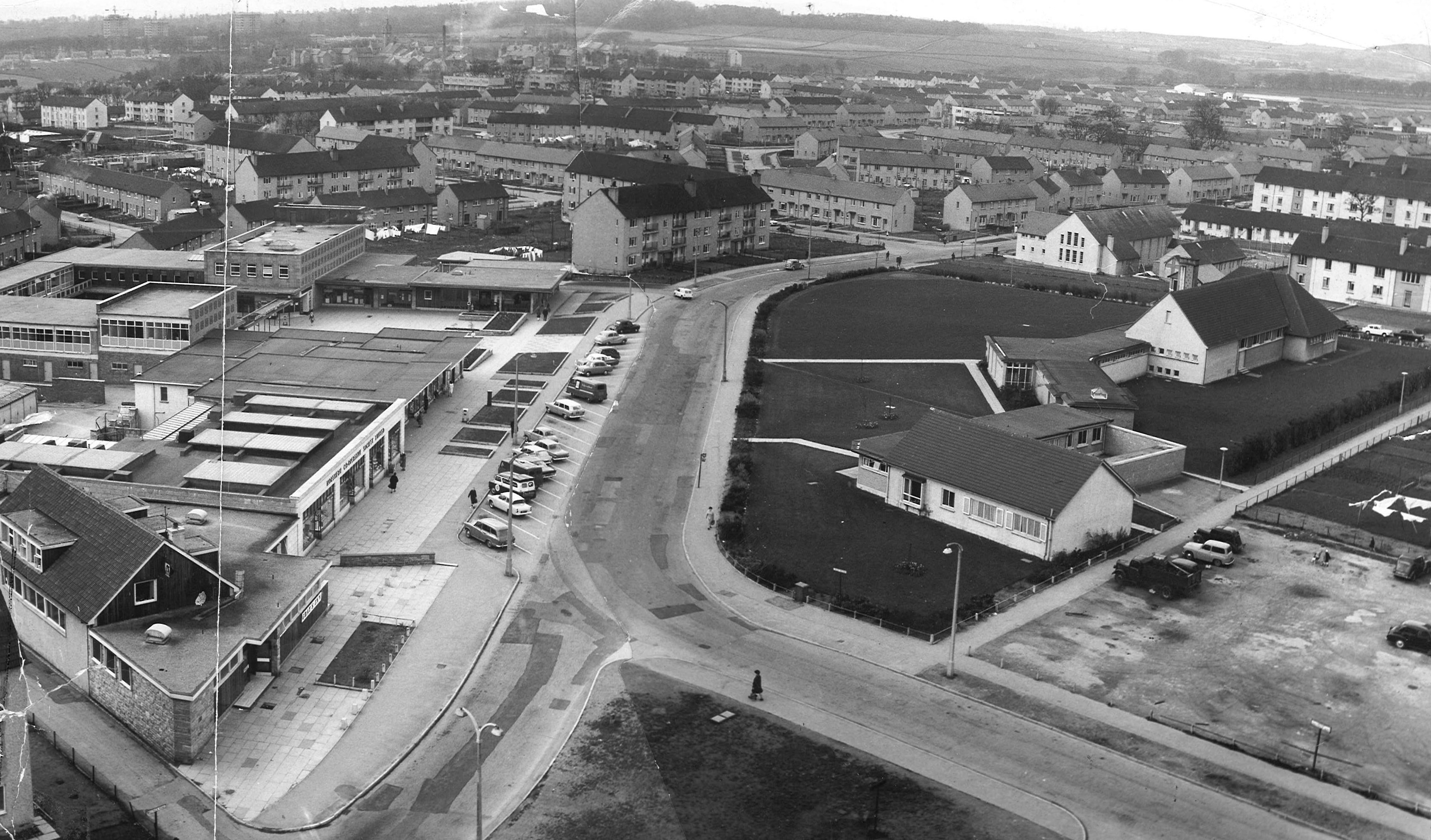 1967: A view of the Mastrick Shopping centre, library, community centre and Mastrick Parish.