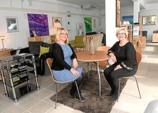 Susan Cheyne and Susan Mackay at the new Home Comforts in Peterculter, opened by Instant Neighbour.