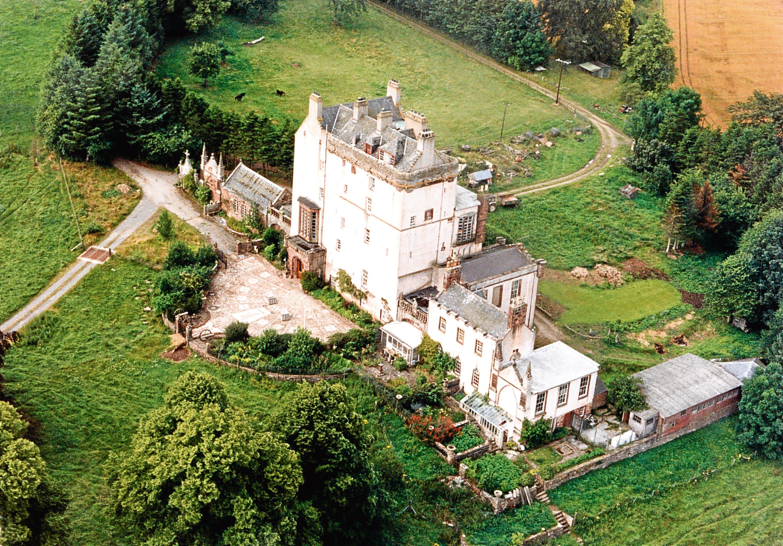 1990: An aerial view of Delgatie Castle taken in 1990.