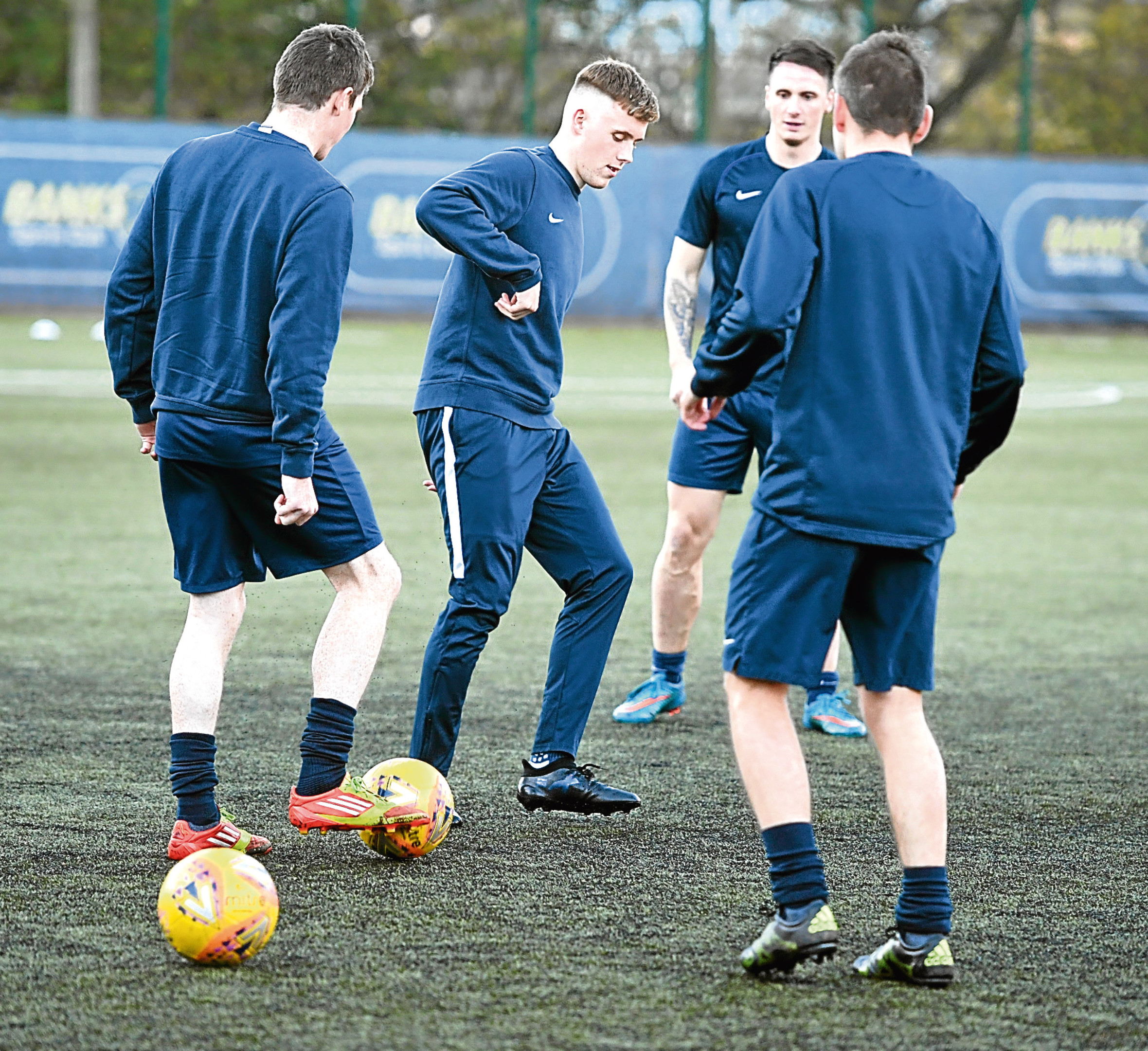 Bank's O Dee FC players train ahead of the match aganist Selkirk in the second round of the Scottish Cup at Spain Park.