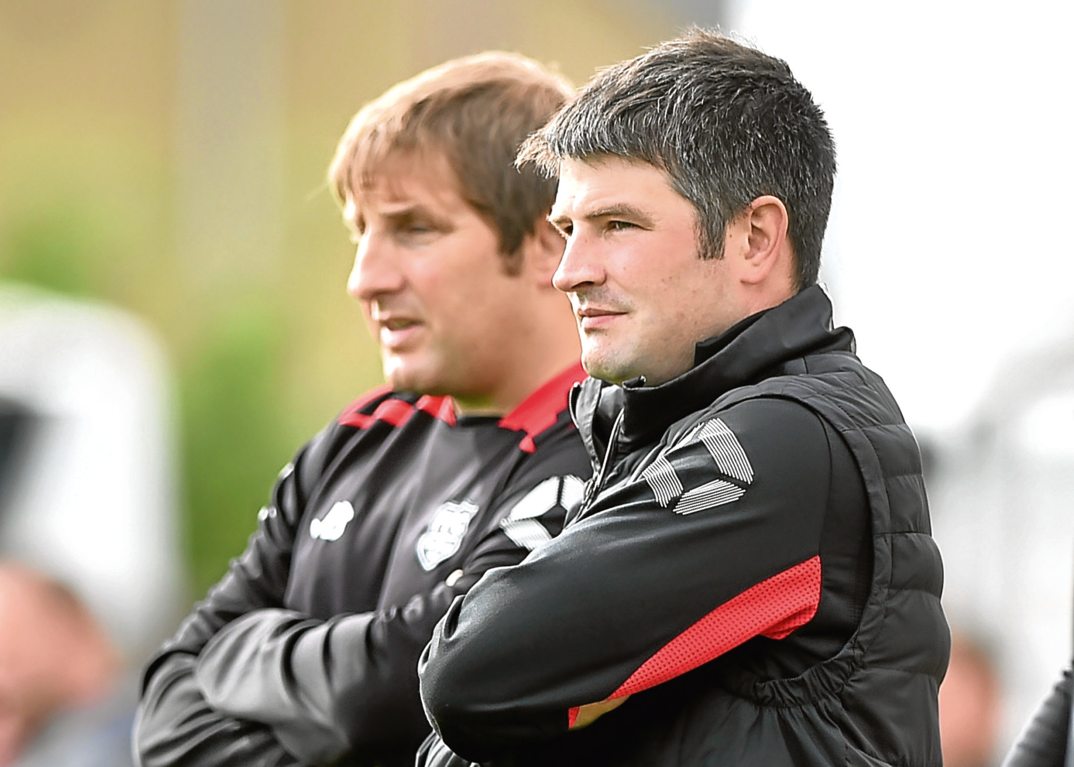 Fraserburgh Manager Mark Cowie, right, and assistant James Duthie.