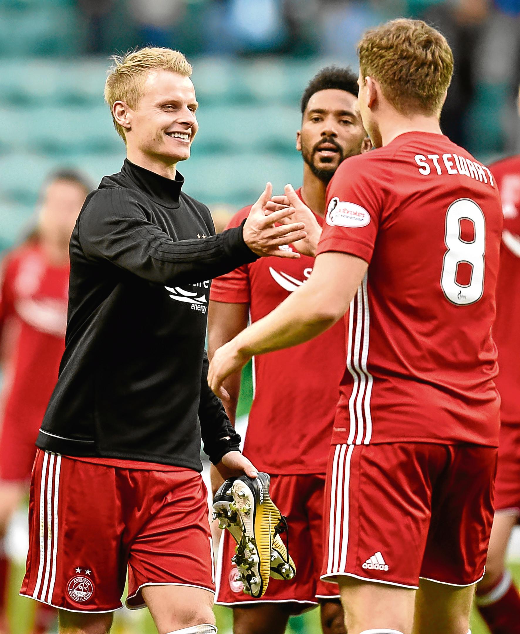 Aberdeen's Gary Mackay-Steven and Greg Stewart at full-time against Hibs.
