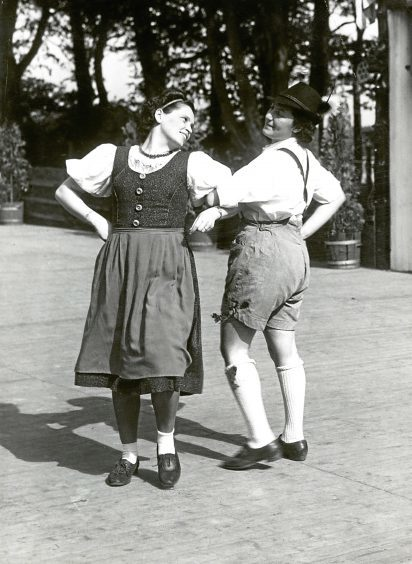 1942: Performers at a folk dance display at Hazlehead.