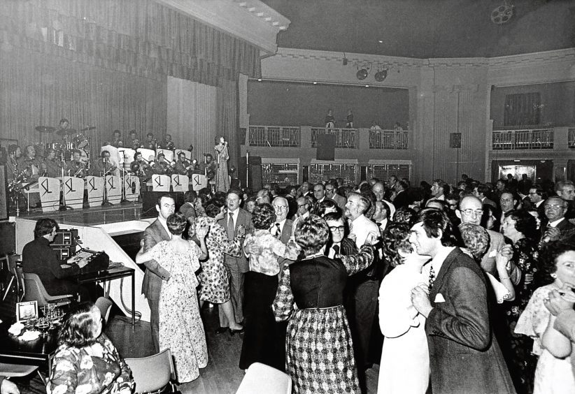 1977: Couples dance to the sound of the Syd Lawrence Orchestra at the Beach Ballroom.