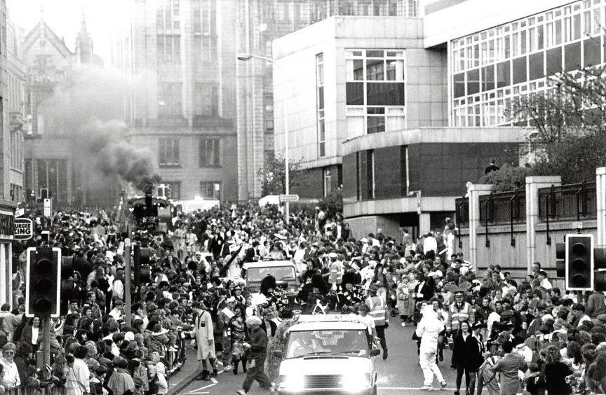 1992: The parade travelling down Upper Kirkgate as Aberdeen folk join the fundraising festivities.