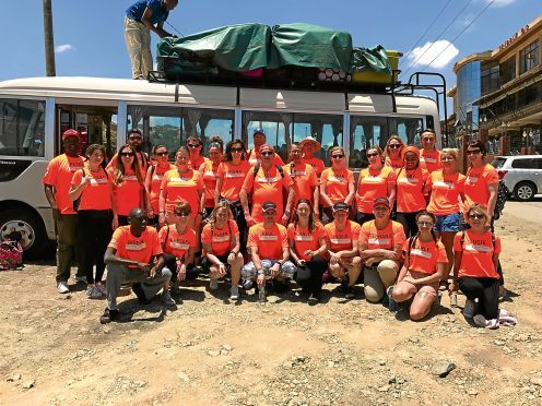 Volunteers helped build four houses in just a week.