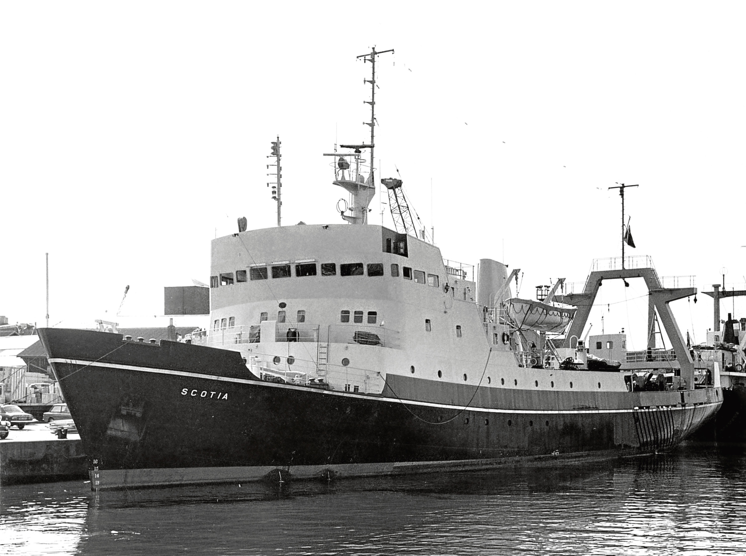 1972: The Scotia, a recently commissioned £130,000 fishery research vessel, berthed in Aberdeen's harbour, just days before she was due to set out to scour the seas off west Greenland.