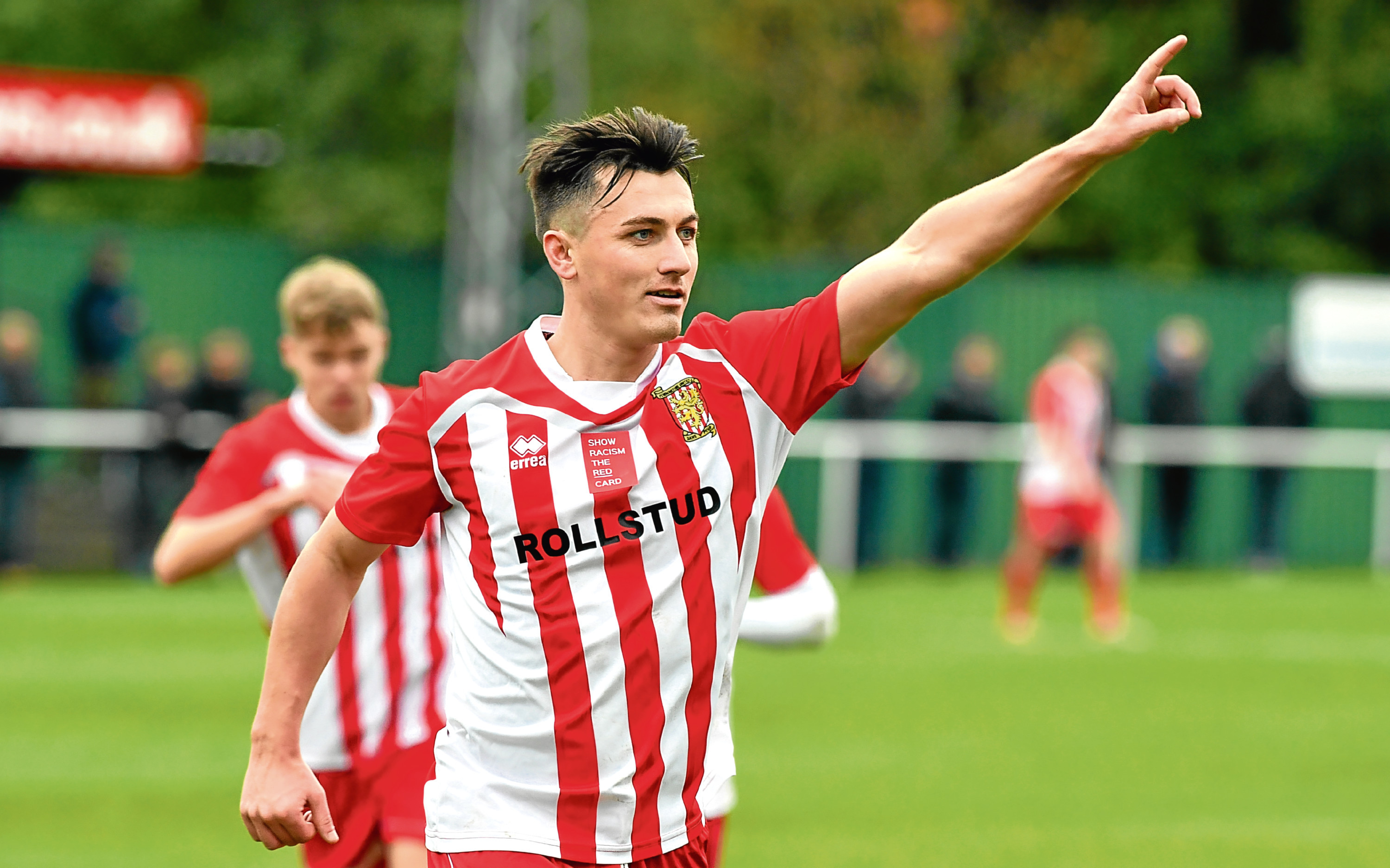 Archie MacPhee celebrates a goal for Formartine.