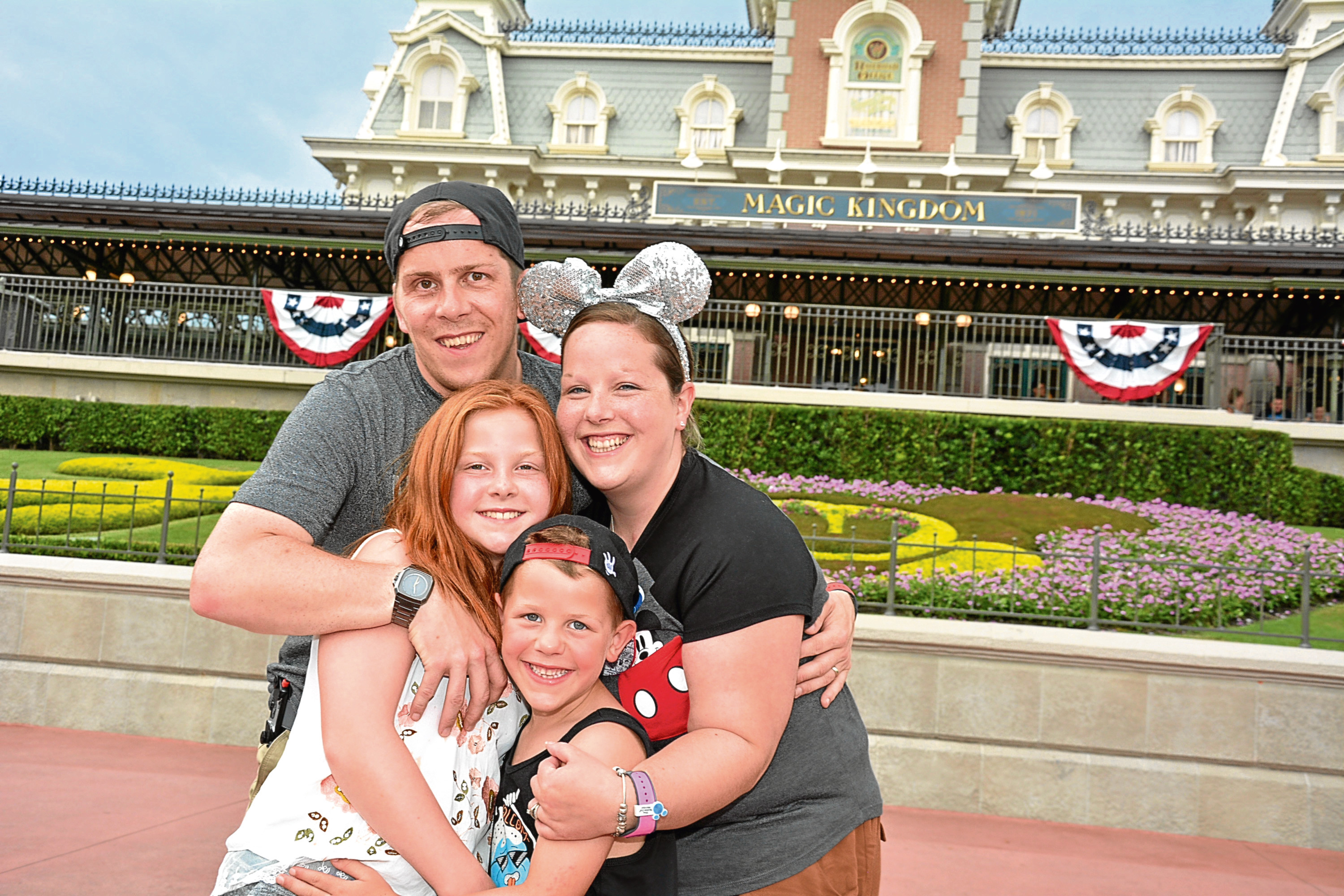 Jemma Stott, from Rothienorman, with her family at Disney World, Florida